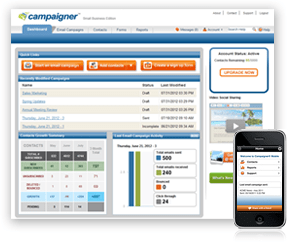 Interface of Campaigner's email marketing software
