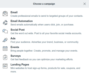 Constant Contact types of campaigns